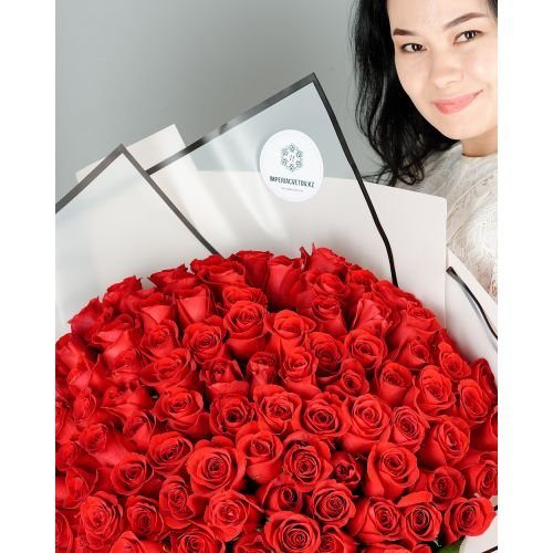Купить на заказ Букет из 101 красной розы с доставкой в Абае