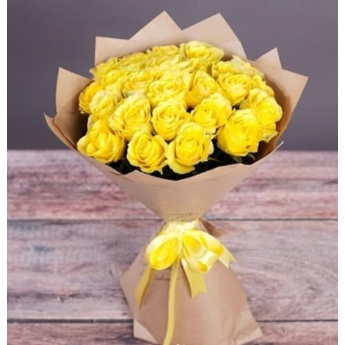 Купить на заказ Букет из желтых роз с доставкой в Абае